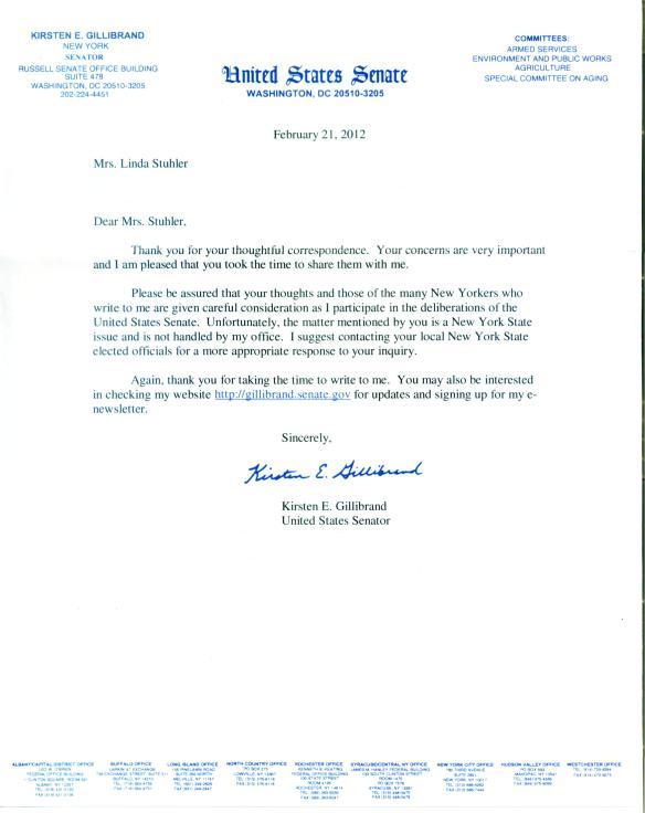 Response Letter Senator Gillibrand 2.21.2012