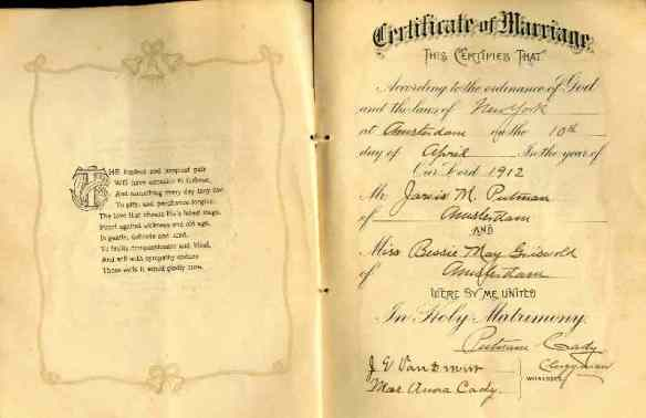 Wedding Certificate of Jarvis & Bessie Putnam