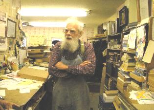 Wayne E. Morrison in his printing shop 2009.