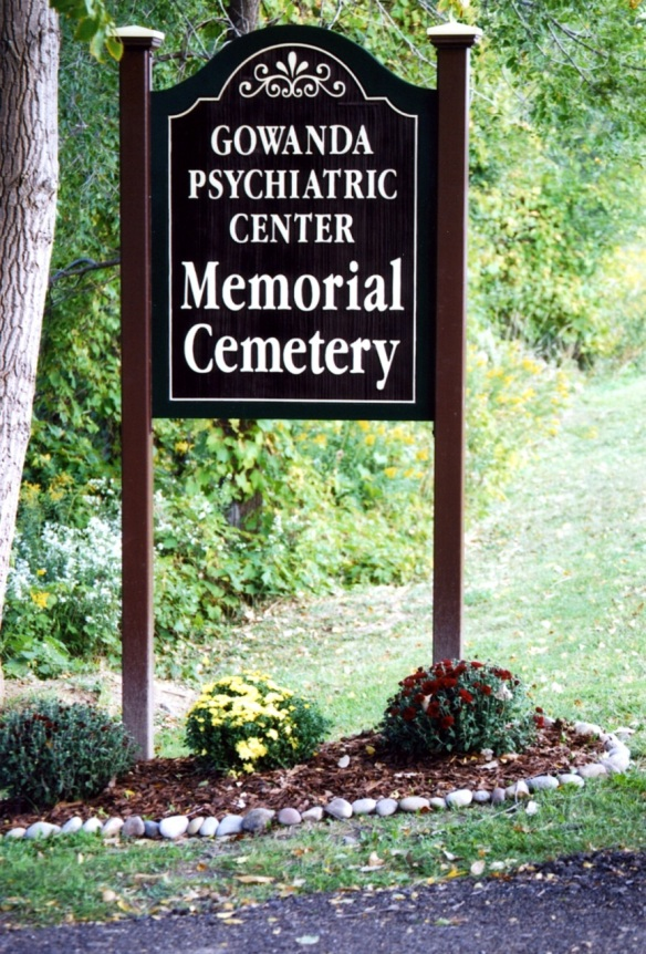 Memorial Cemetery sign installed by People Inc. in 2007